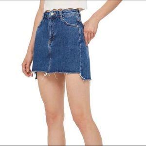 Topshop Raw Hem Denim Skirt